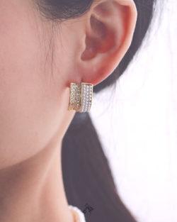 雙向道Two Ways- 細珍珠圈 排鑽貼耳耳環 925抗敏銀針免費改夾