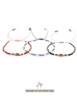 79折3件組|一日A Day- 粉紅瑪瑙、白珍珠與礦色黑膽石 一日天空配色日本細珠 3手鍊套組