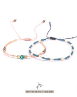 85折雙件組| 溫柔Gentle Touch- 珍珠與天河石 日本細珠 雙手鍊套組
