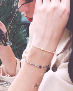 85折雙件組| 半糖微甜Half Sugar- 粉珍珠與青晶石 日本細珠 雙手鍊套組