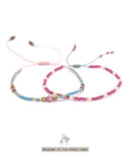 85折雙件組|小淘氣Naughty Girl- 白珍珠與紅紋石 紅綠撞色日本細珠 雙手鍊套組