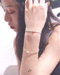 85折雙件組|京都的天空Sky in Kyoto- 白珍珠與紅紋石 孔雀綠色系日本細珠 雙手鍊套組