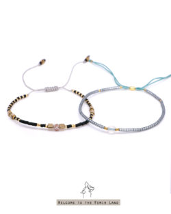 85折雙件組| 暮色The Night- 白瑪瑙與粉紅瑪瑙 日本細珠 雙手鍊套組