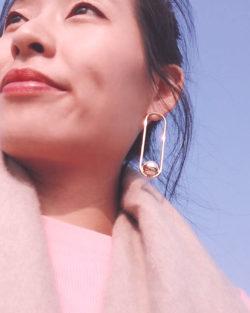 明珠Lucky Ball- 誇張不對稱幾何珍珠 耳環 925抗敏銀針