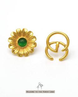 媽媽的珠寶盒Mom's Treasure- 仿貓眼石太陽花 不對稱貼耳耳環 925抗敏銀針免費改夾