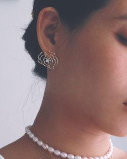 縷空玫瑰花 耳環 925銀針
