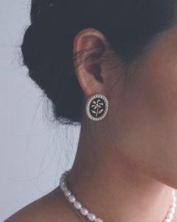復古霧金雕花橢圓耳環 925銀針