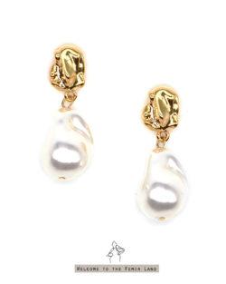 仿巴洛克珍珠 垂墜耳環 925銀針