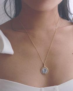 守護者 Guardian-雙面人像雙色 925純銀鍍金胸口鍊
