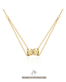 天鵝頸Pretty Neck- 菱格紋立體頸鍊 925純銀鍍金