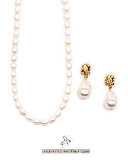 省200| 骨子裡的高雅Just Elegant- 天然珍珠頸鍊與仿巴洛克耳環 2件組